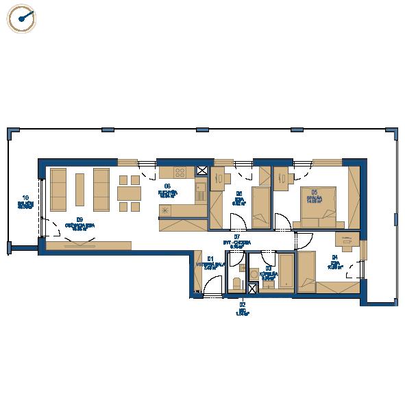 Pôdorys bytu 4 izbový byt, 10. poschodie, bytový dom C, Urban residence