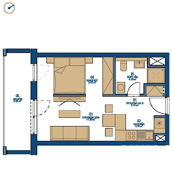 Pôdorys bytu 1,5 izbový byt, 6. poschodie, bytový dom C, Urban residence