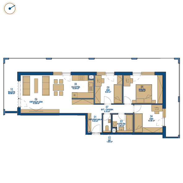 Pôdorys bytu 4 izbový byt, 8. poschodie, bytový dom C, Urban residence
