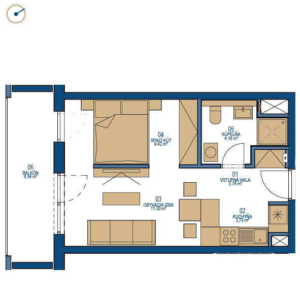 Pôdorys bytu 1,5 izbový byt, 9. poschodie, bytový dom C, Urban residence