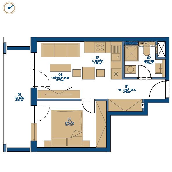 Pôdorys bytu 2 izbový byt, 7. poschodie, bytový dom C, Urban residence