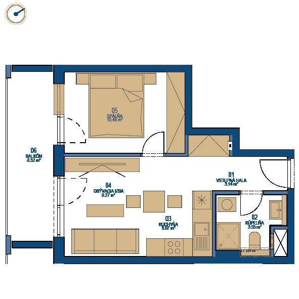 Pôdorys bytu 2 izbový byt, 8. poschodie, bytový dom C, Urban residence