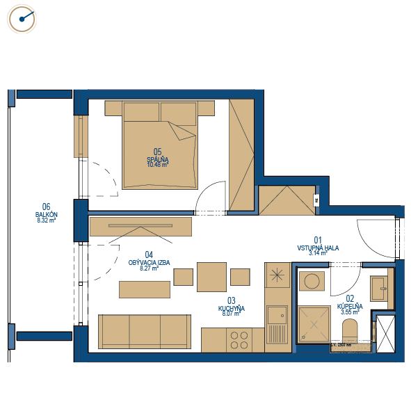Pôdorys bytu 2 izbový byt, 9. poschodie, bytový dom C, Urban residence